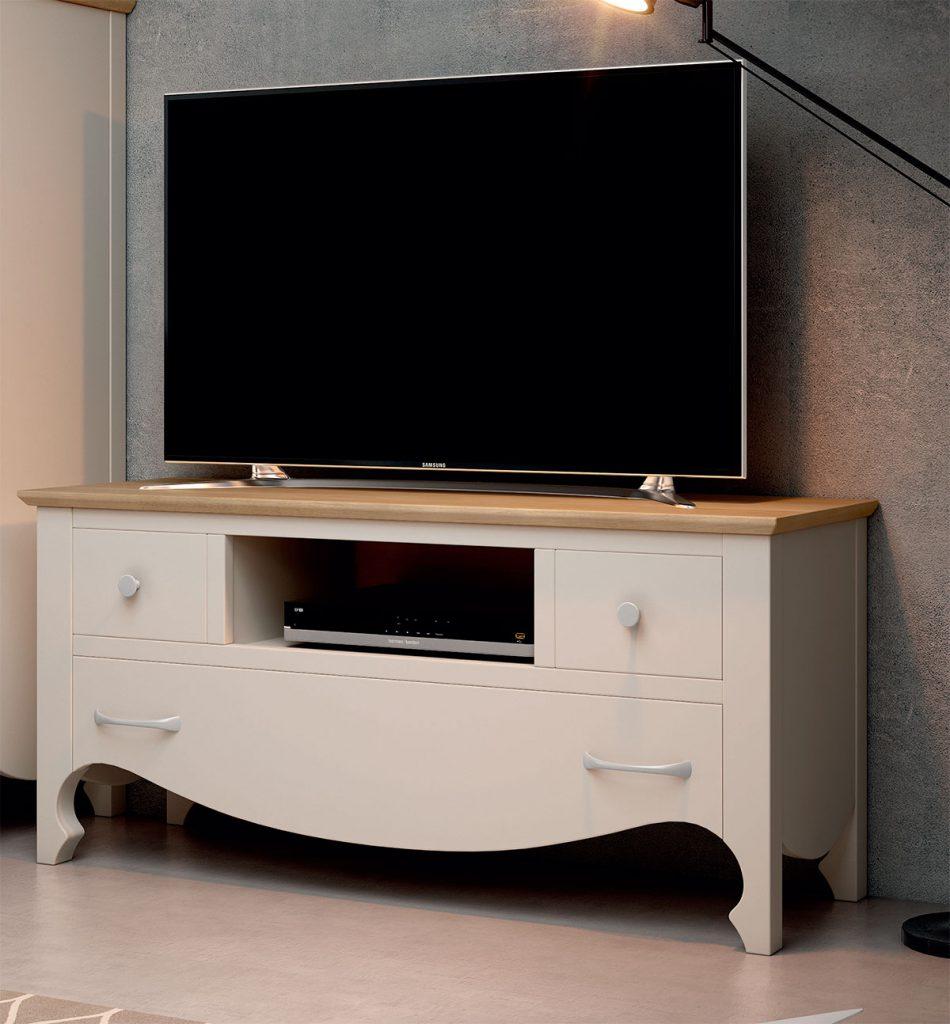 Mueble TV 3 cajones provenzal blanco