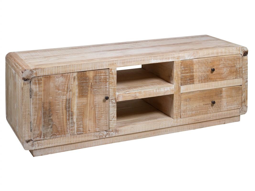 Mueble TV rustico blanco decapado