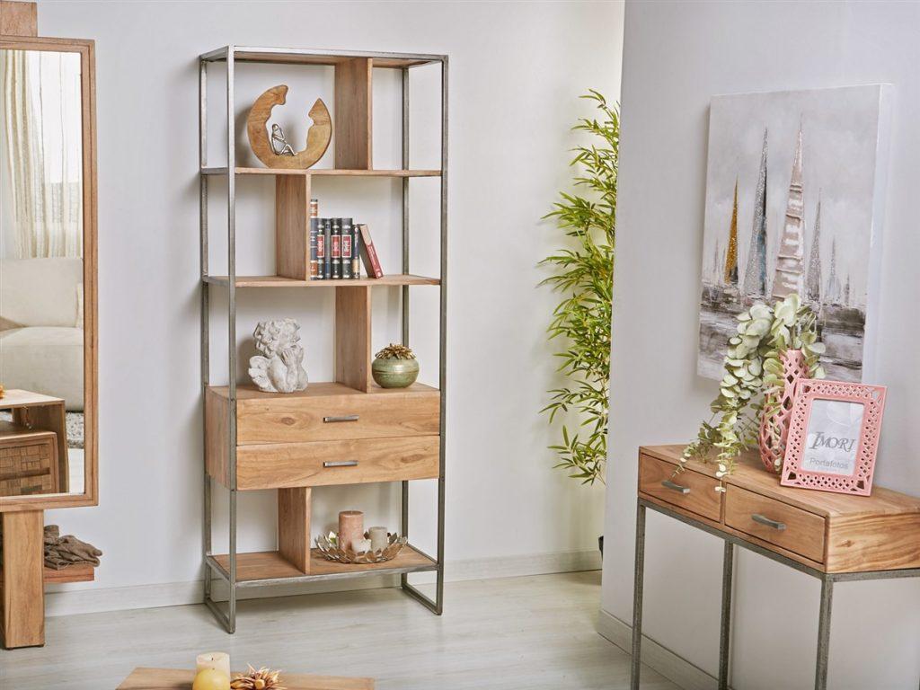 Libreria estantes madera estilo industrial