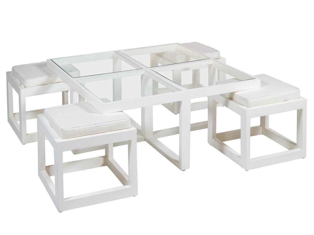 Mesa centro con 4 taburetes blancos