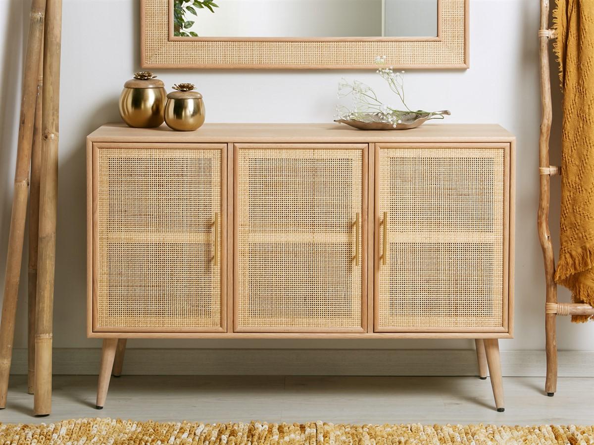 Aparador 3 puertas moderno madera rejilla