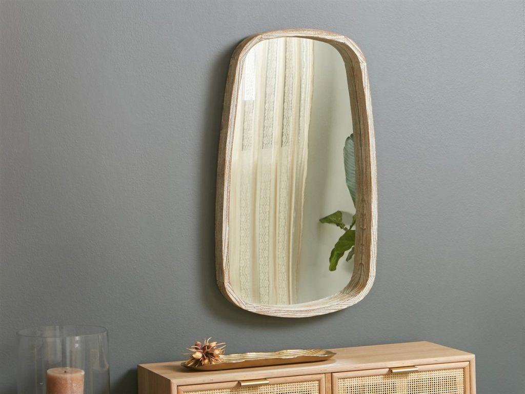 Espejo recibidor formas madera natural actual