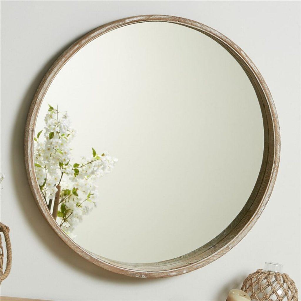 Espejo redondo recibidor madera natural