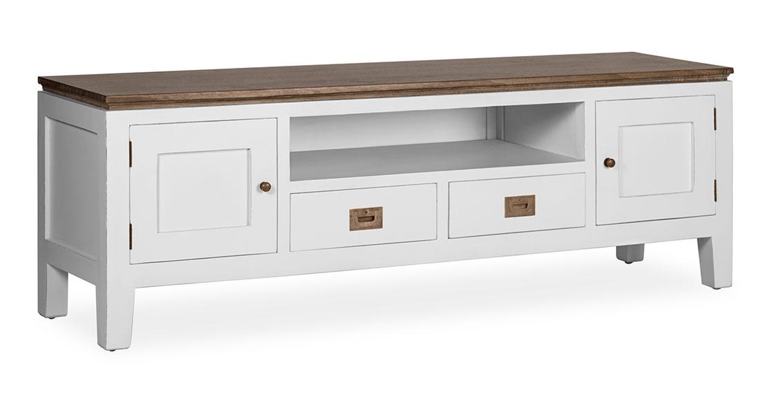 Mueble de television color blanco colonial