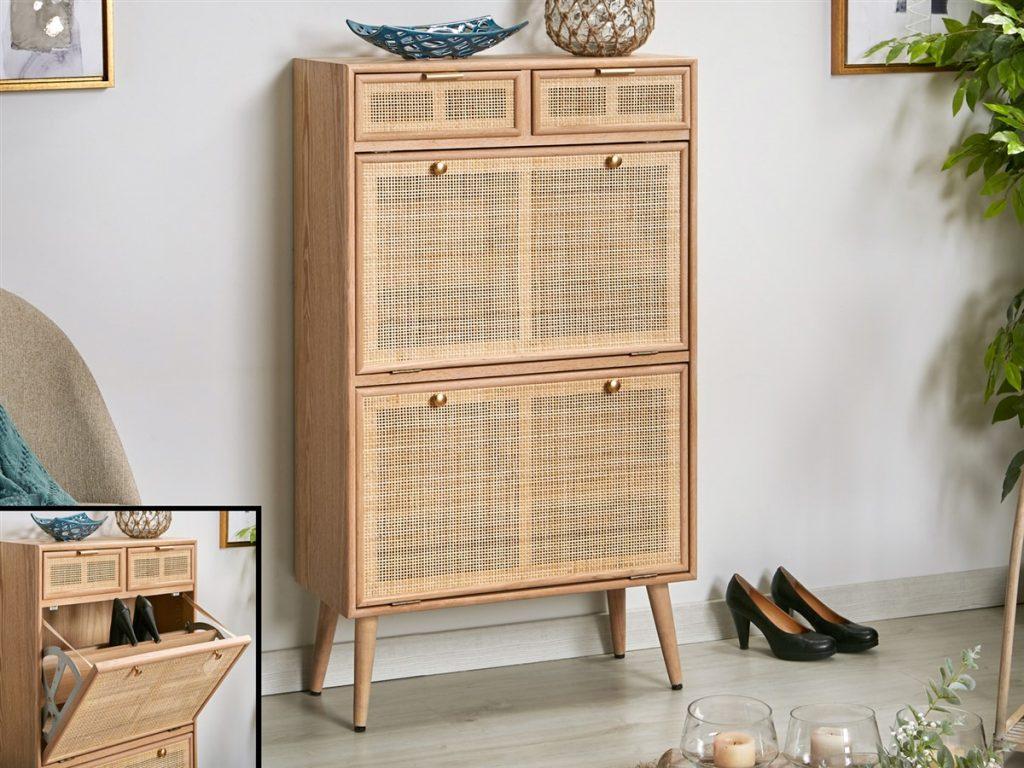 Mueble para zapatatos estilo actual madera rattan