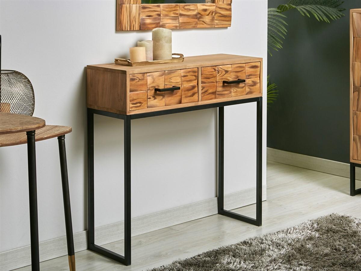 Mueble recibidor 2 cajones estilo industrial actual