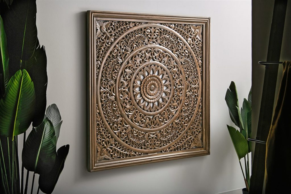Panel decoracion tallado nogal estilo mandala