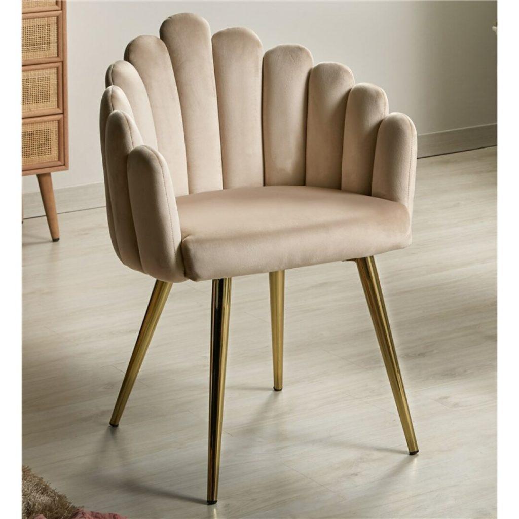 Sillon comedor moderno tapizado beige