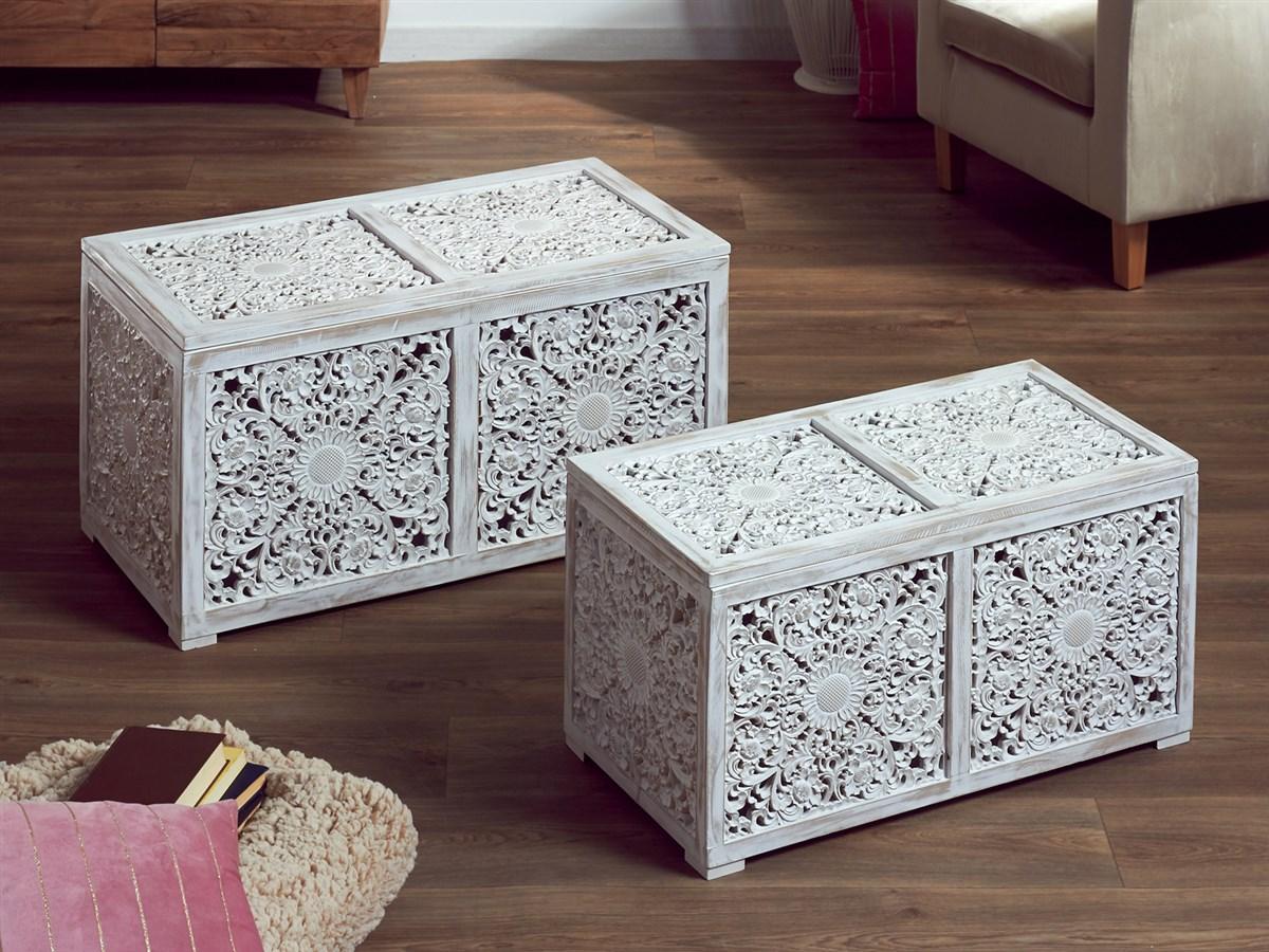 Baules tallados orientales clasicos blancos