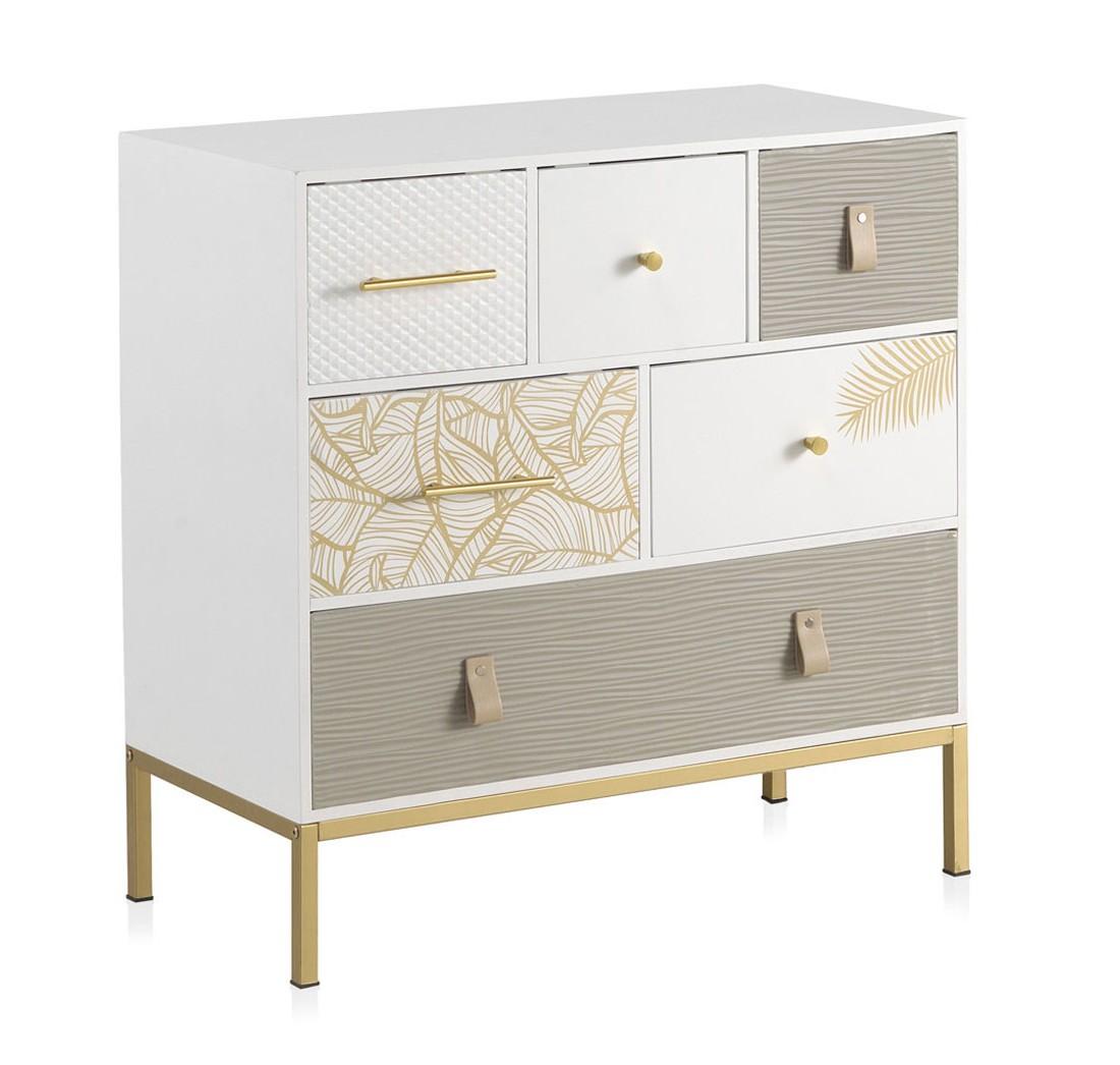 Comoda 6 cajones decorados moderna blanco oro