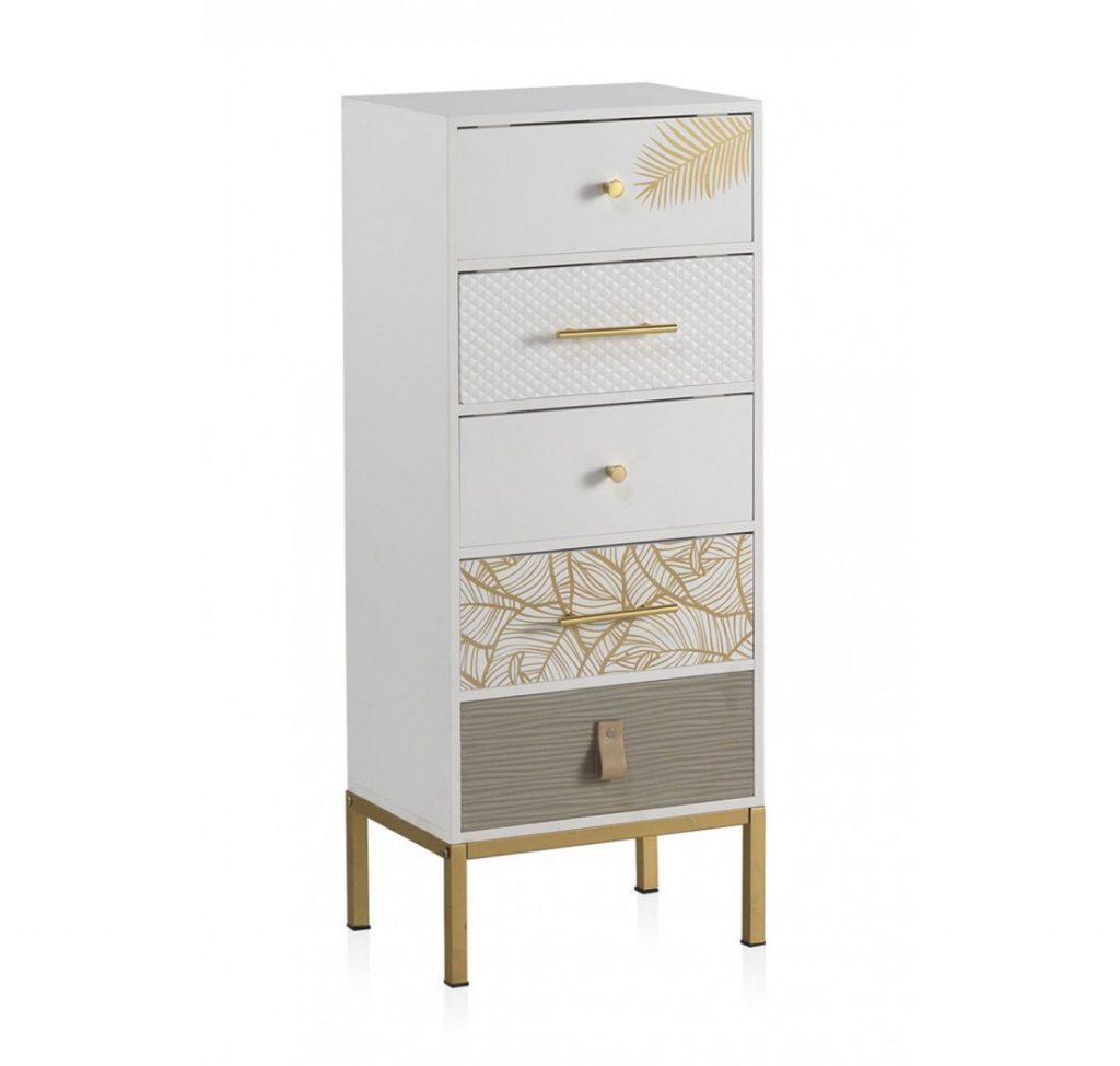 Comoda alta decorada estilo actual blanco oro