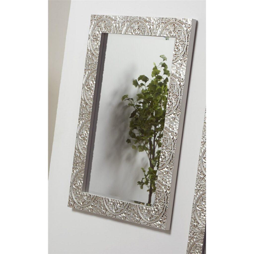 Espejo recibidor tallado oriental blanco plata