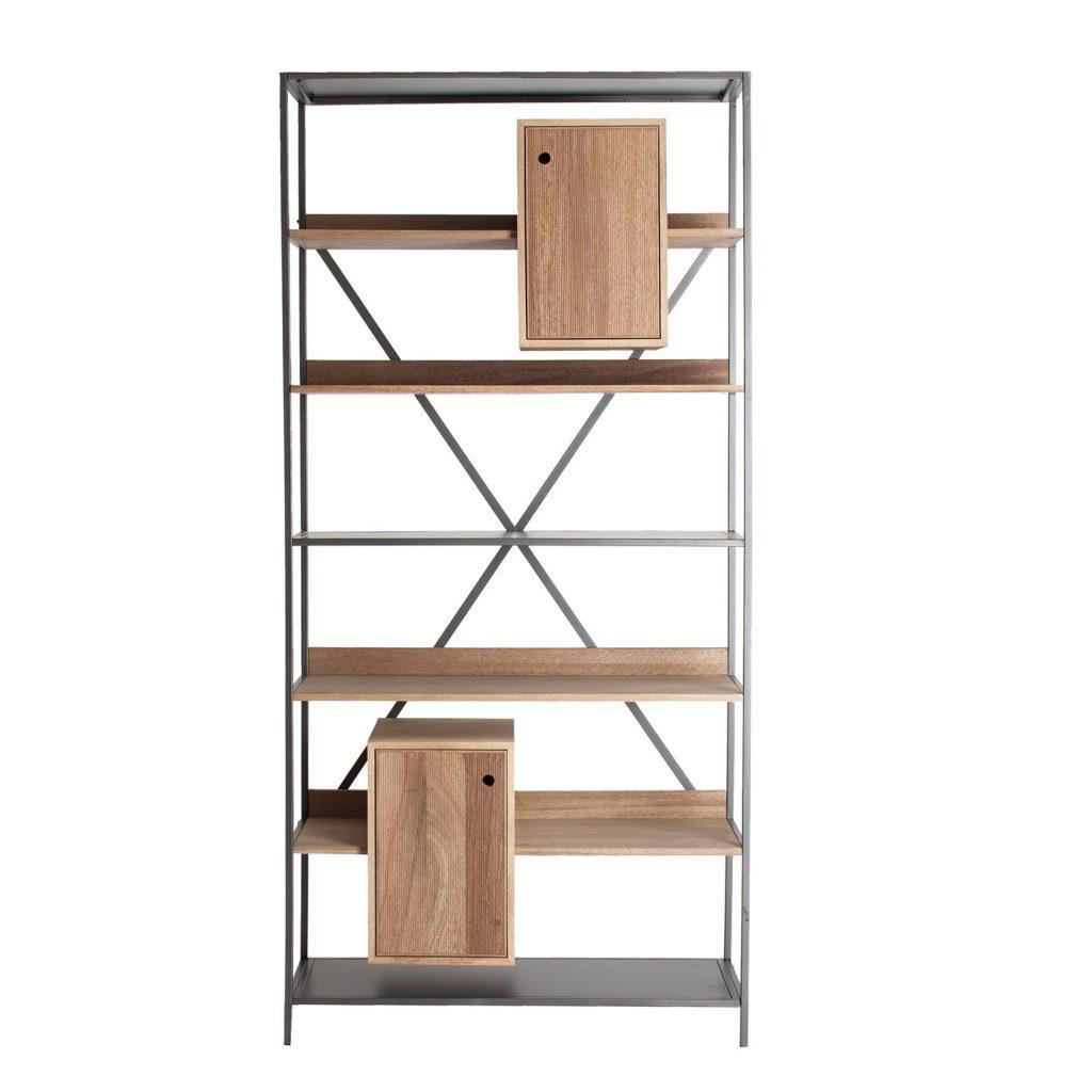 Libreria diseño acero madera actual