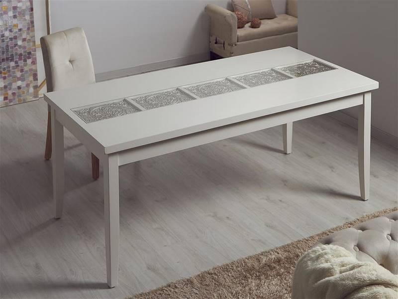 Mesa comedor tallada blanca plata oriental