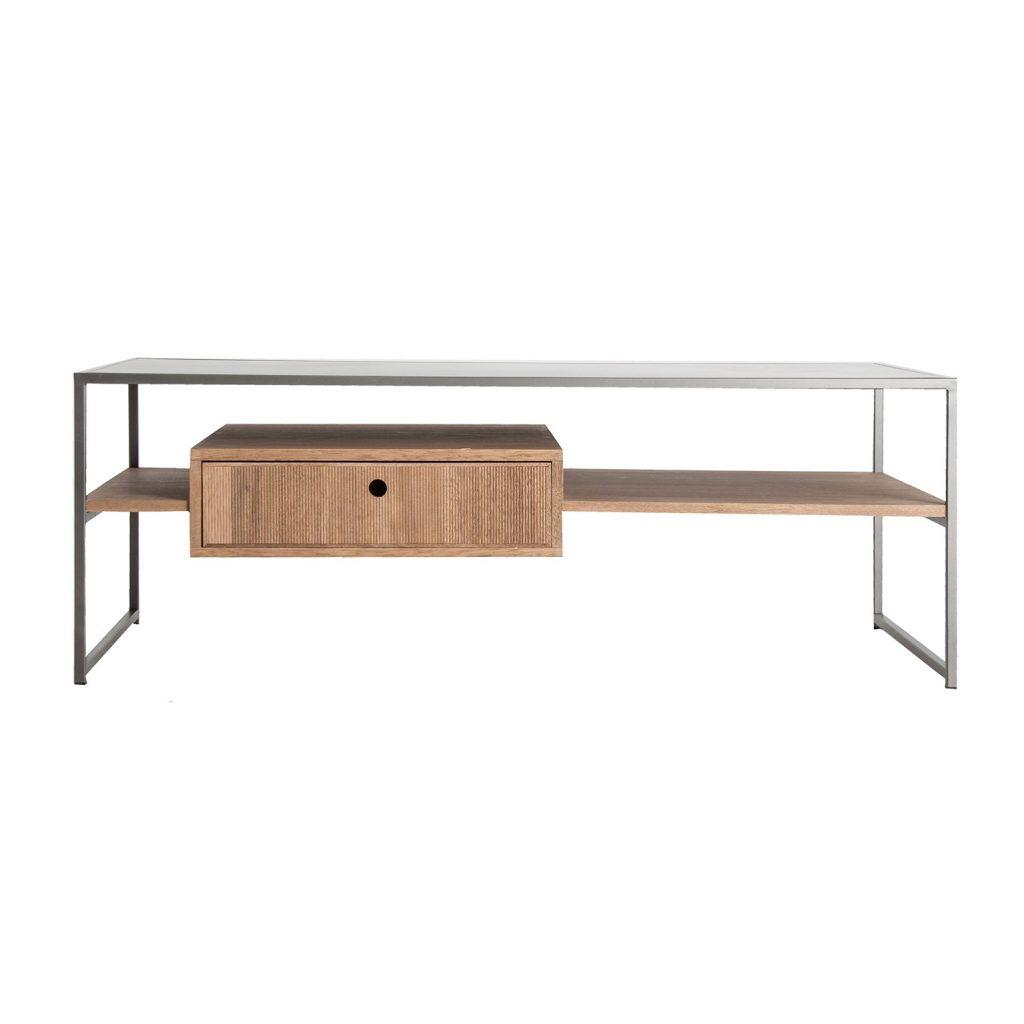 Mesa de centro diseño actual acero madera
