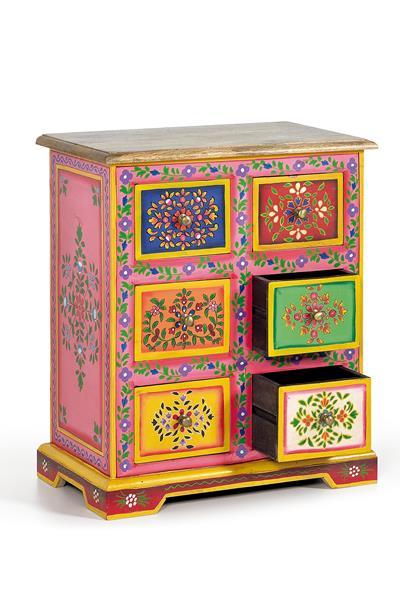 Mesita colores estilo chino decorada