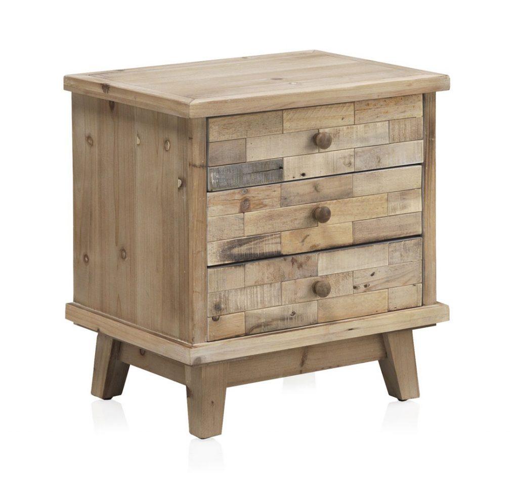 Mesita dormitorio madera reciclada rustica