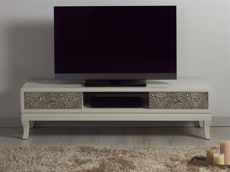 Mueble TV oriental tallado blanco plata