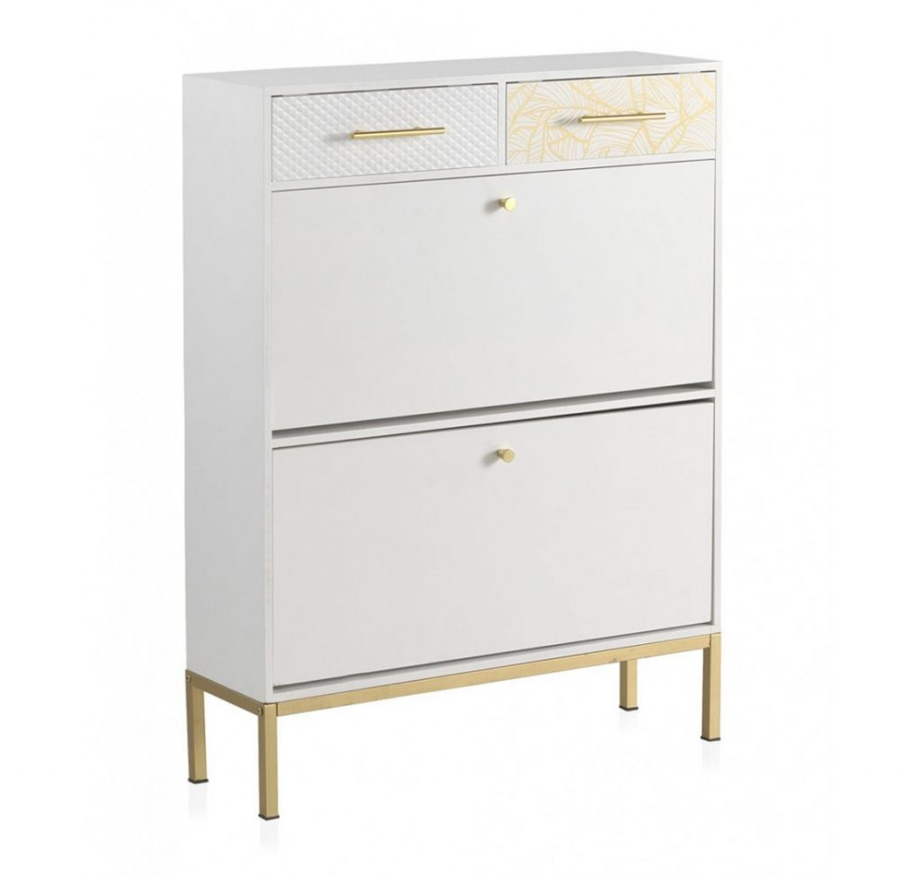 Mueble zapatero actual decorado blanco oro