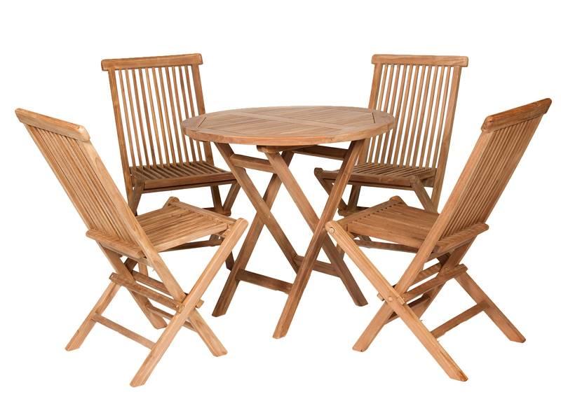 Conjunto mesa y sillas jardin teca