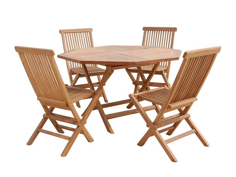 Juego 4 sillas y mesa teca