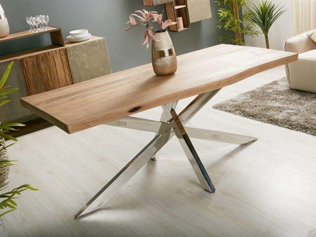 Mesa diseño acero madera