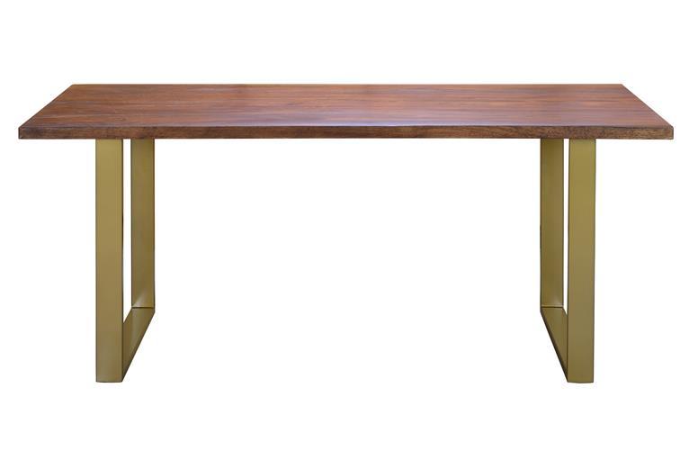 Mesa diseño acero oro y madera