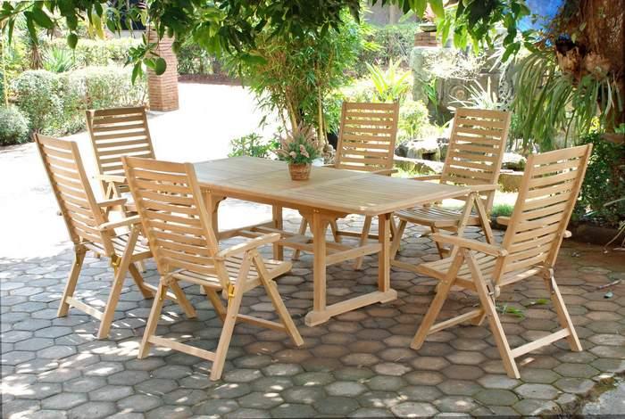 Mesa extensible y sillones terraza teca