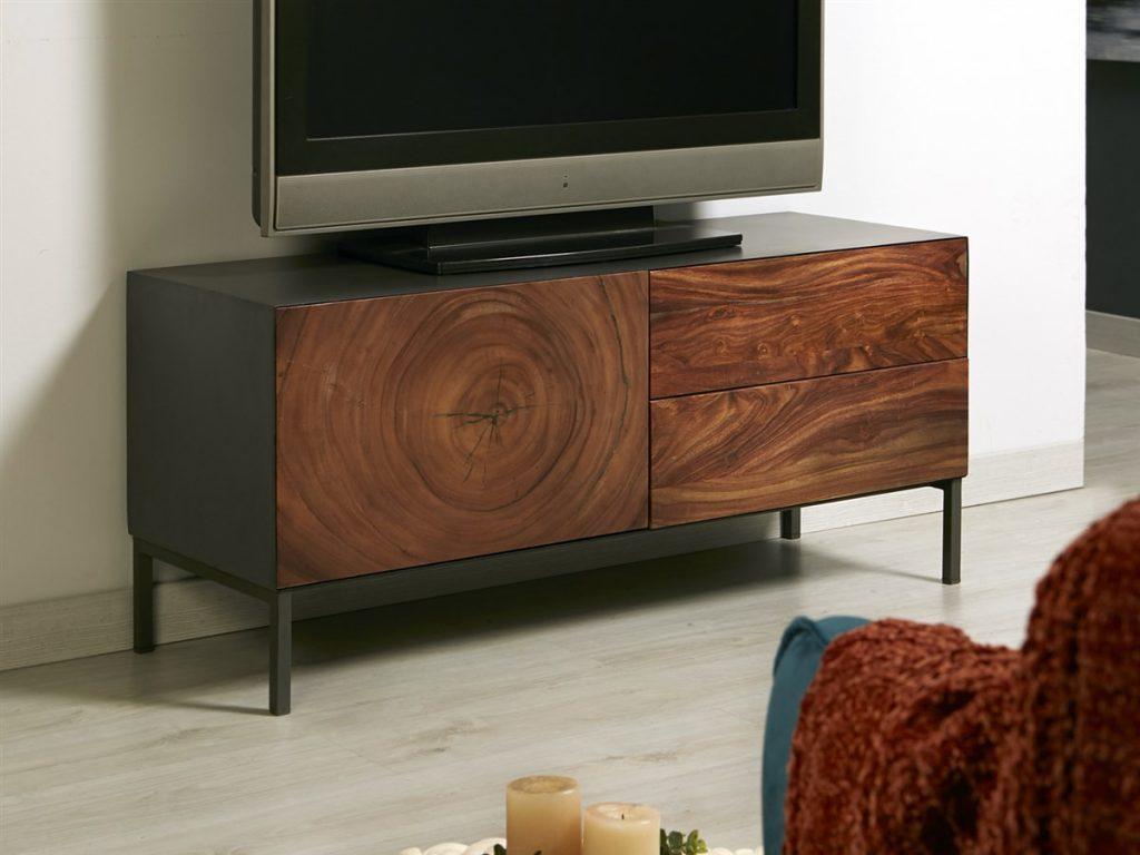 Mueble TV industrial madera metal 2 cajones
