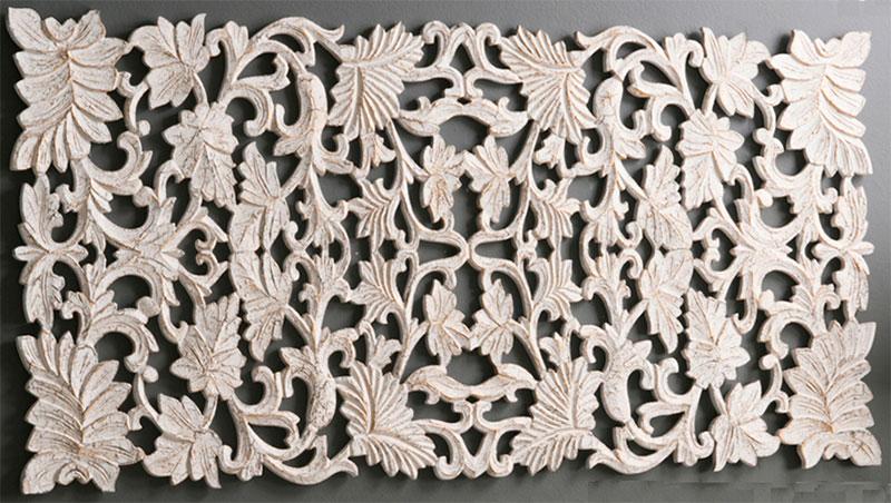 Cabecero decape blanco tallado