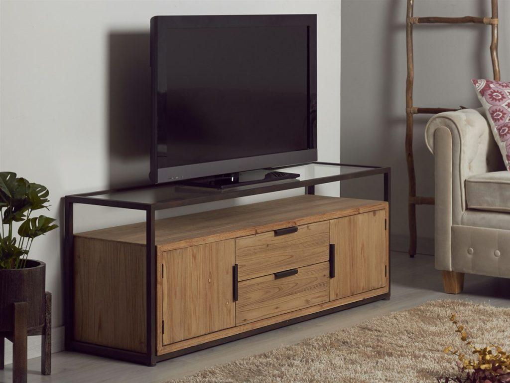 Mueble television rustico industrial madera metal