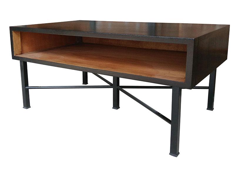 Mesa de centro bicolor madera negro industrial