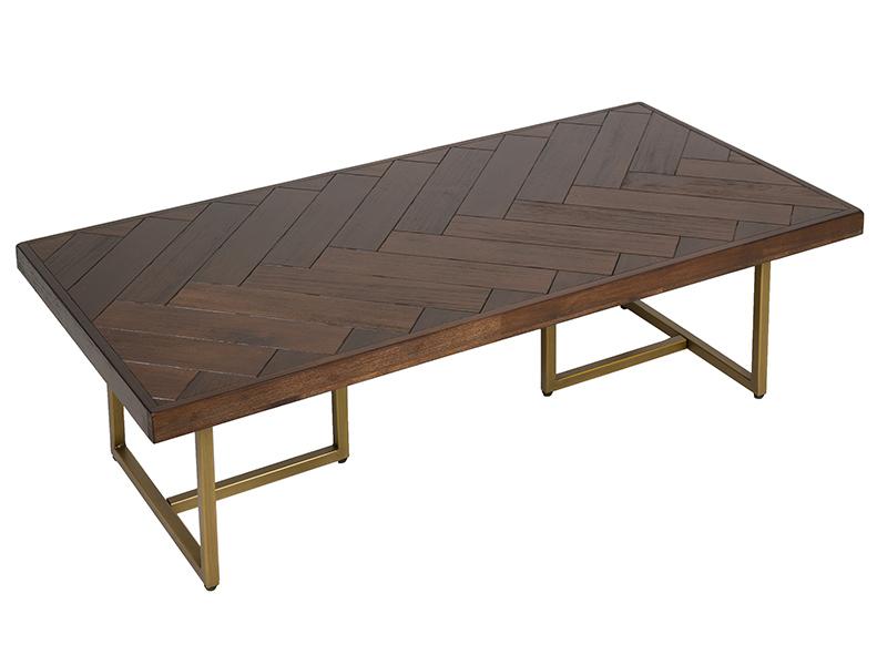 Mesa de centro diseño actual madera acero oro