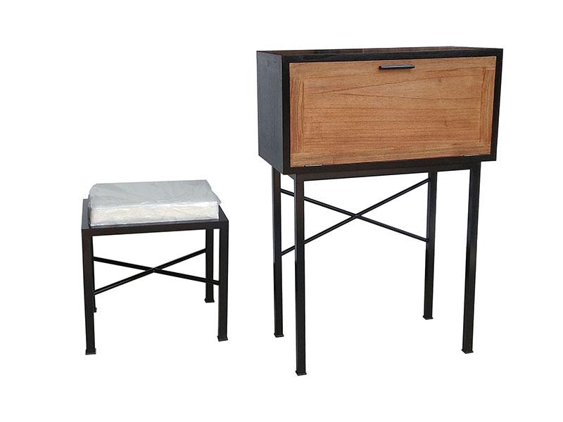 Mesa escritorio con taburete forja madera industrial