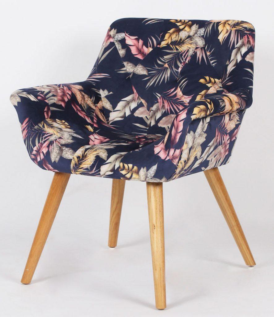 Sillon comedor tapizado estampado moderno