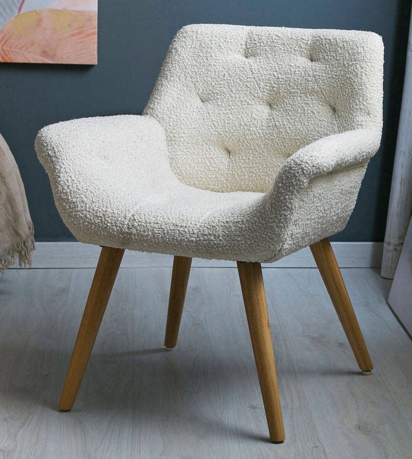 Sillon para comedor tapizado rustico beige