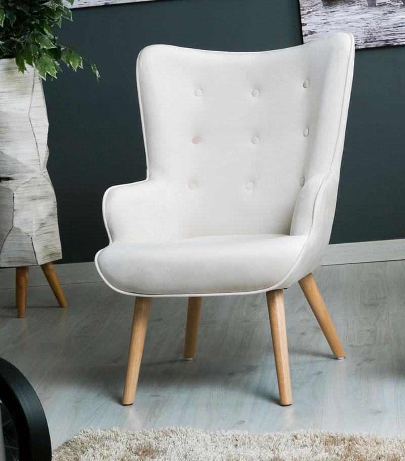 Sillon relax tapizado terciopelo beige actual