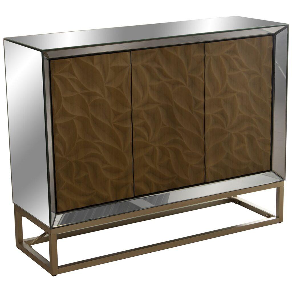 Aparador 3 puertas oro cristal moderno