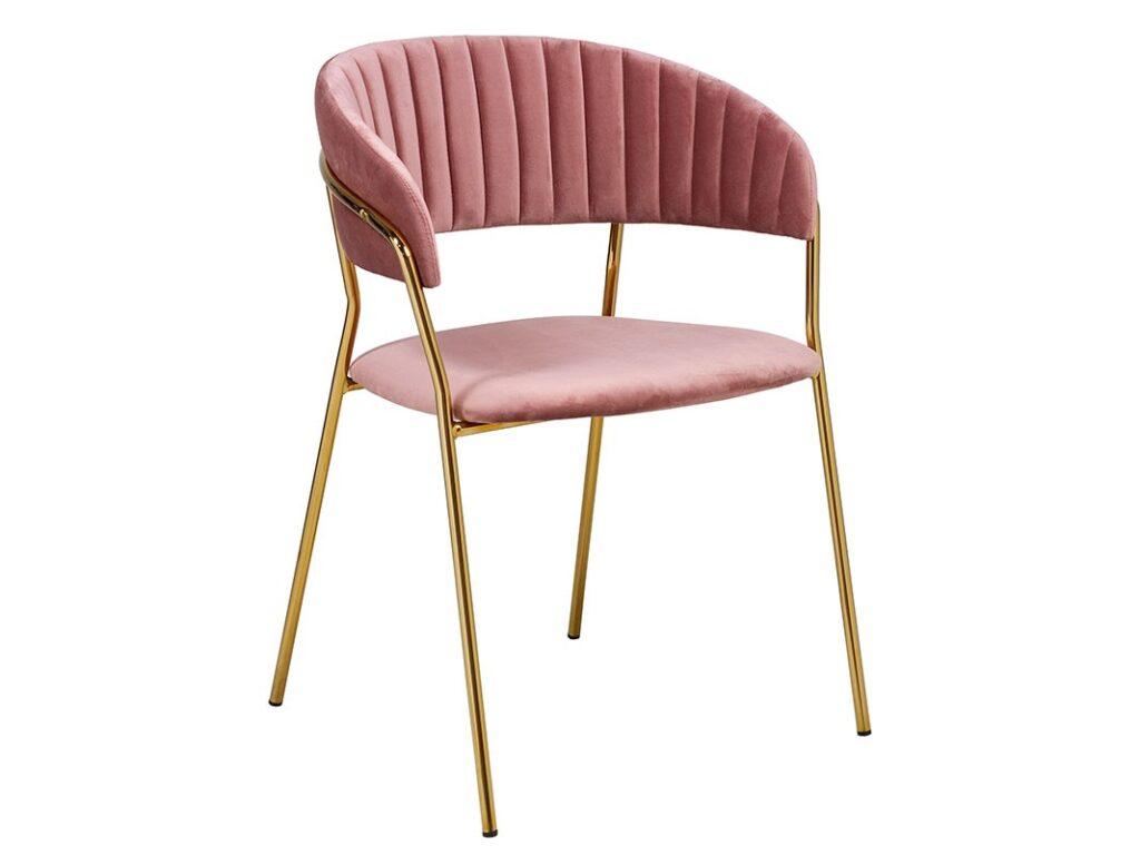 Sillon tapizado rosa palido patas metal