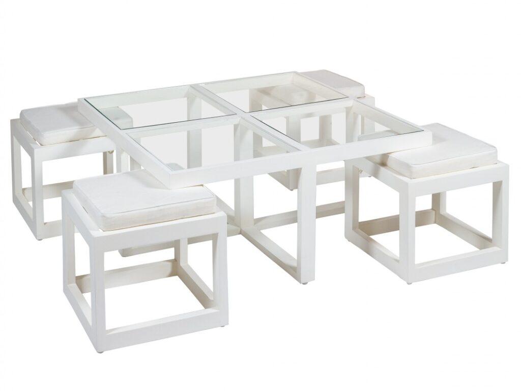 Mesa y 4 taburetes salon actual blanco