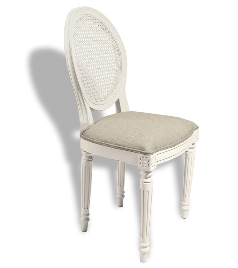 Silla blanca tapizada estilo clasico vintage blanco
