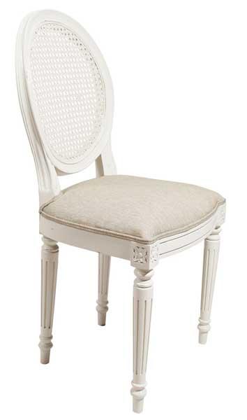 Silla clasica blanca tapizada