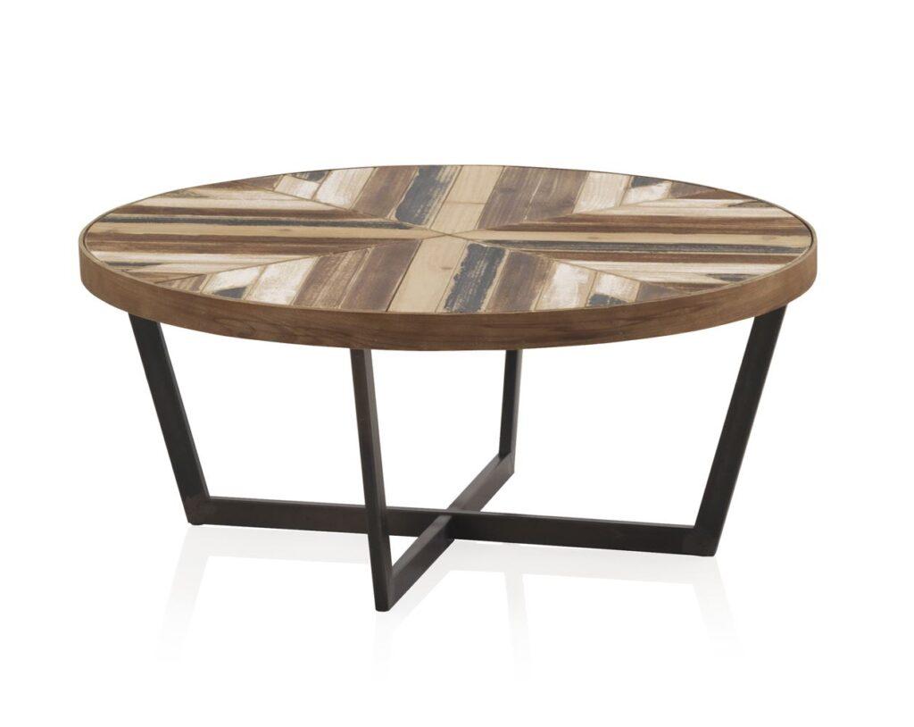 mesa baja redonda salon industrial