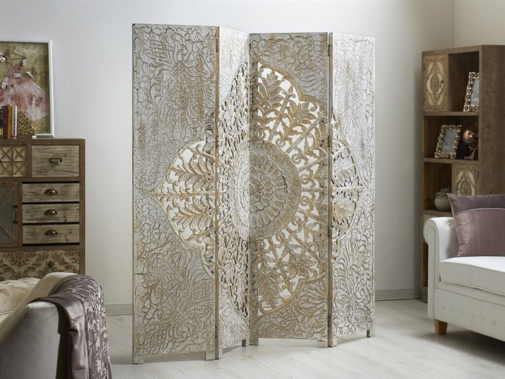 Bimbo separador tallado floral mandala blanco oro