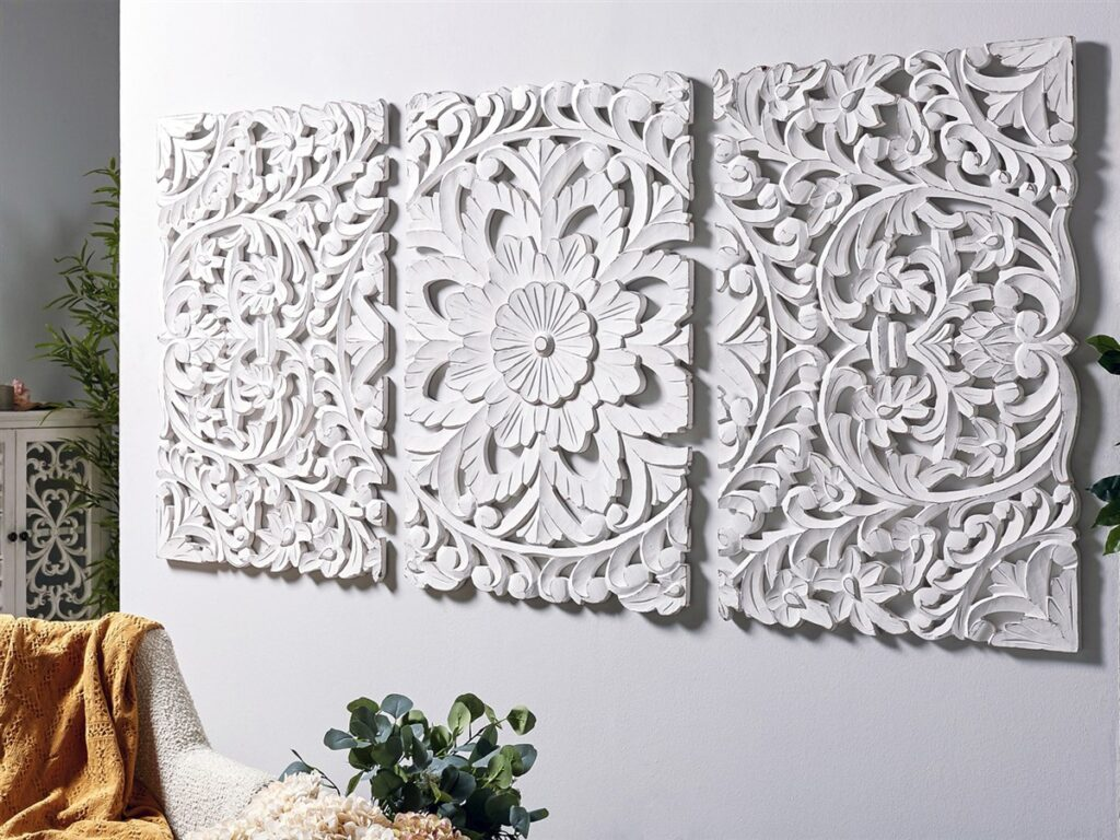 Cuadro paneles tallados mandala blanco
