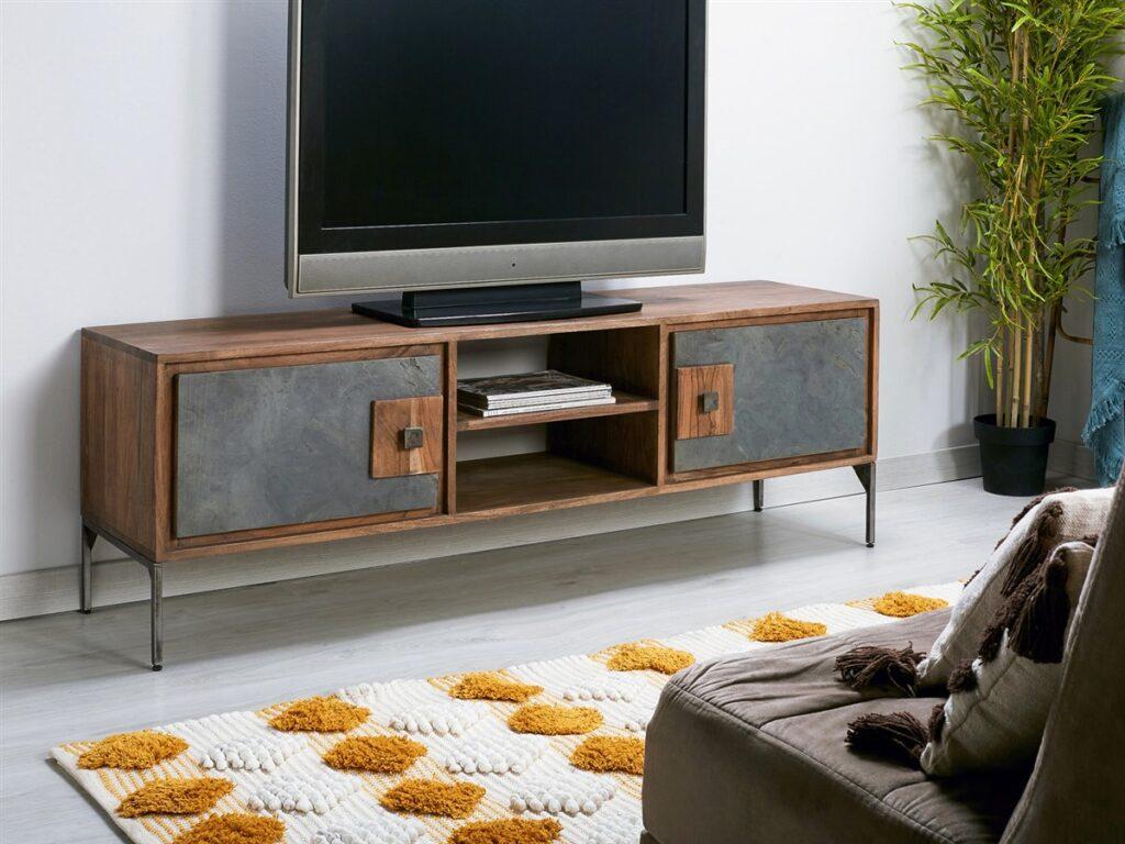 Mueble TV madera acero piedra industrial
