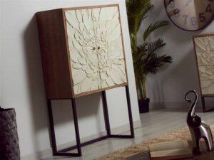 Armario salon tallado 2 puertas blanco madera
