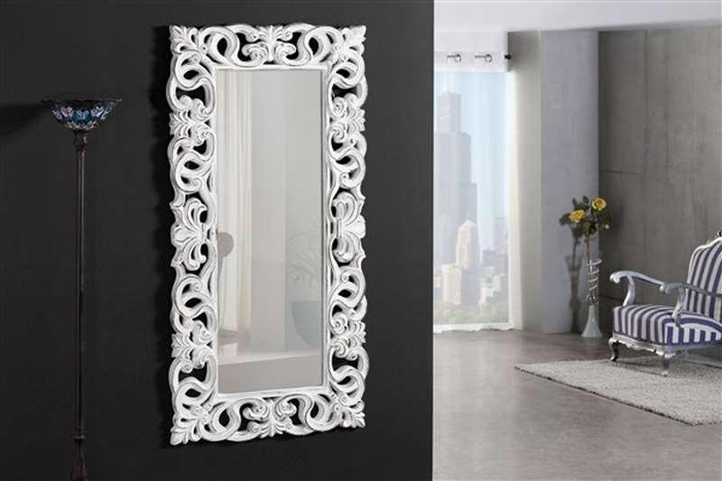 Espejo vestidor tallado vintage blanco
