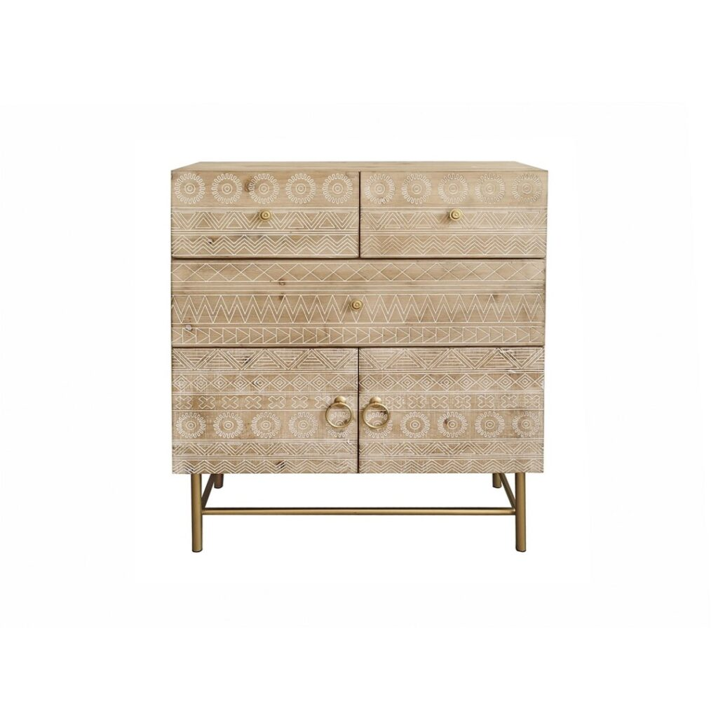 Comoda madera natural tallada diseño
