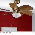 ventilador de techo dorado aspas color roble